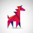 jednorożec origami wektor - 180490180