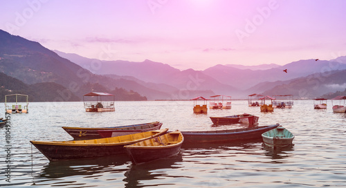 Aluminium Purper Lake in the Pokhara at Sunrise