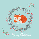 Holiday greeting card with cute fox