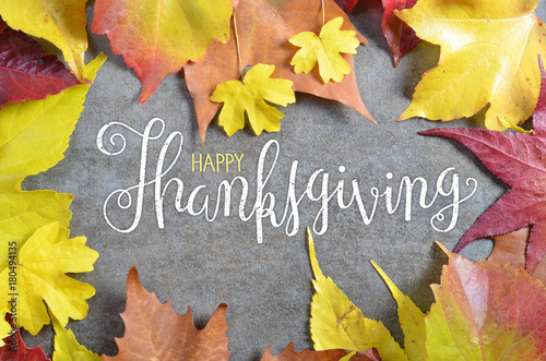 HAPPY THANKSGIVING hand lettered card with autumn leaves