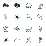 World Icons Set. Includes Icons Such As Oak, Cactus, Water Drops And Other. - 180498700