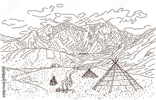 Foto op Canvas Wit Человек в горах