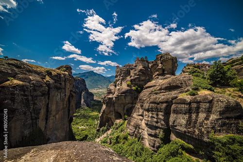 Papiers peints Bleu nuit Meteora, Monasteries on Huge Rocks in Greece near Kalabaka City