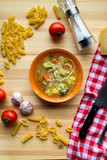 Italian minestrone soup with pasta recipe, flatlay with ingredients - 180502590