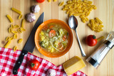 Italian minestrone soup with pasta recipe, flatlay with ingredients - 180502594
