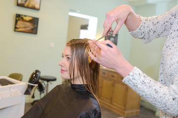 Hairdresser cutting woman's hair