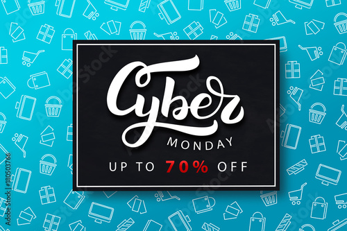 Vector realistic isolated promo banner for Cyber Monday for decoration and covering on the blue background. Concept of discount and sale.