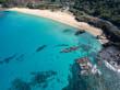 Beautiful Hawaii beach aerial at Waimea Bay Beach Park