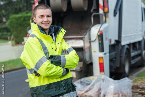 Obraz na płótnie portrait of young smiling refuse collector