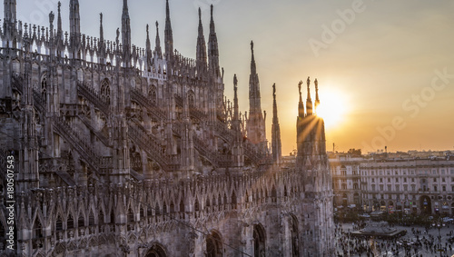 In de dag Milan Milano cathedral from the rooftop at sunset - Italy