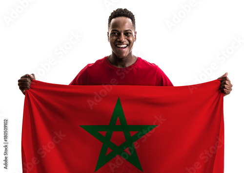 Aluminium Marokko Fan / Sport Player holding the flag of Morocco