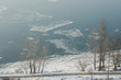 Foggy view on the embankment and river Danube in Esztergom