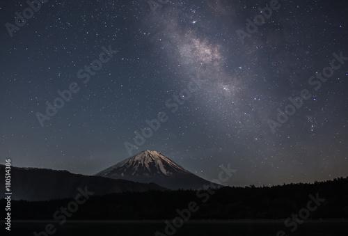 Poster Nachtblauw 西湖から富士山と天の川