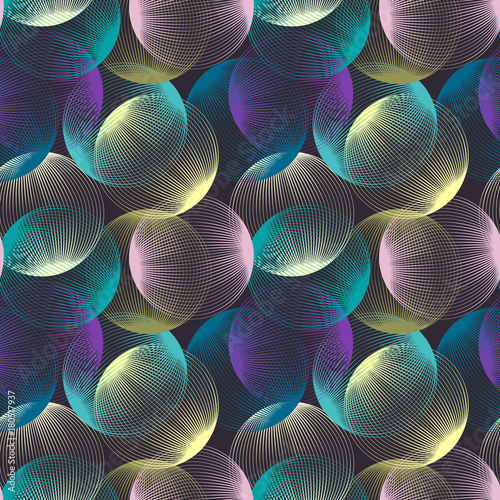 Abstract linear spheres seamless pattern. Colorful repeatable modern design with bubbles. Geometric circles background. - 180517937