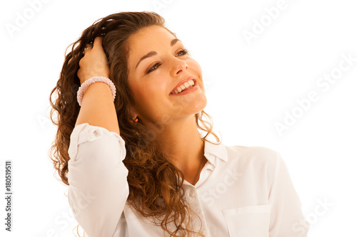 Fotobehang Kapsalon attractive beautiful teenage woman in casual summer dress isolated over white
