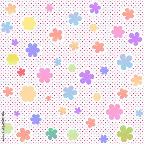 Fototapeta Pastel seamless texture with flowers and small dots