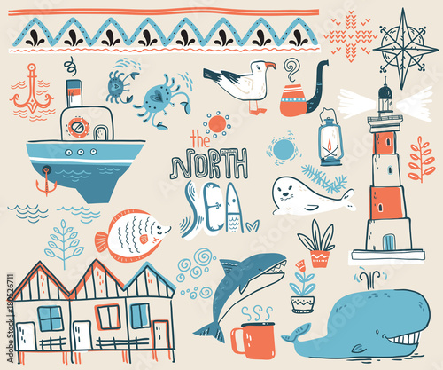 Staande foto Kunstmatig Vector doodle illustration. North sea. Scandinavian style. Colle