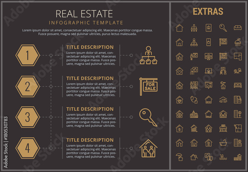 real estate infographic timeline template elements and icons