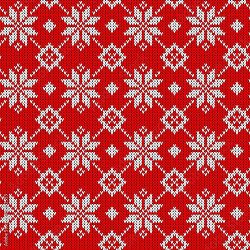 Christmas seamless pattern. Knit scandinavian design.