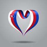 Slovak flag heart-shaped ribbon. Vector illustration.