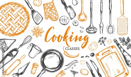 Fridge magnet Cooking concept. Frame with utensil, kitchenware, tools. Vector hand drawn illustration with Modern Calligraphy, Lettering. Design Template