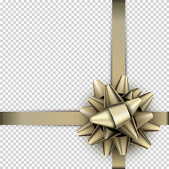 Golden bow with ribbon for gift wrap.
