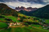 Santa Maddalena village in front of the Geisler or Odle Dolomites Group, Val di Funes, Trentino Alto Adige, Italy, Europe.