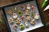 Christmas cookies decorated with icing - 180540361