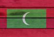 Wooden Maldives flag
