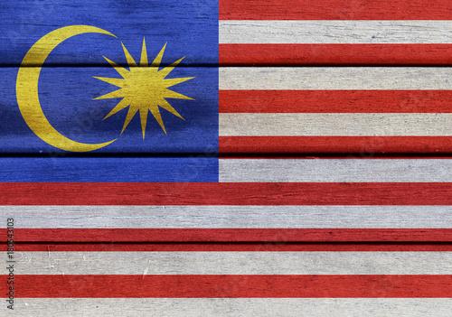 Fotobehang Kuala Lumpur Wooden Malaysia flag