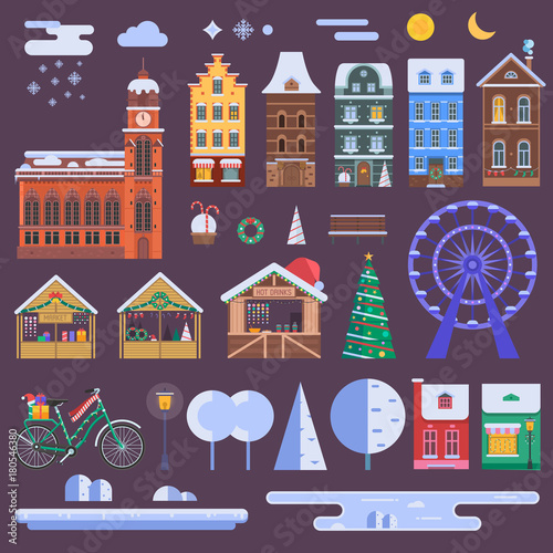 Fotobehang Aubergine WInter city constructor set with european christmas houses, festive market objects, Xmas decorations and other details. Europe town landscape creator with urban map and infographic elements.