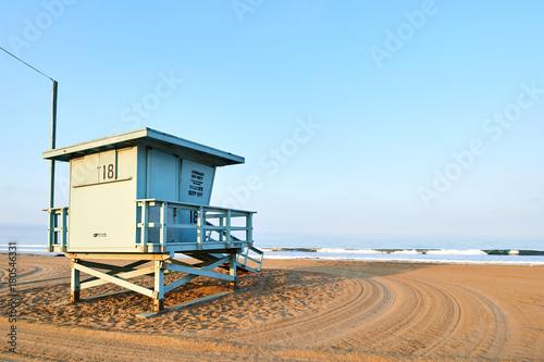 Lifeguard booth on Santa Monica beach, Los Angeles, California at sunrise Poster