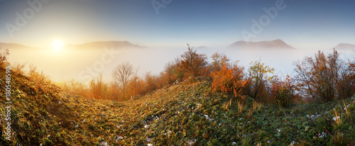Fotobehang Beige Slovakia forest autumn panorana landscape with mist in mountain, Manin