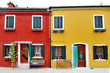 Venice, Burano, Italy - characteristic red and yellow building