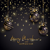 Merry Christmas and Happy New Year with balls and confetti on black background
