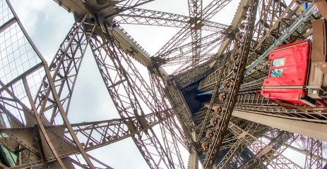 Powerful structure of Eiffel Tower, wide angle view