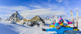 Happy family enjoying winter vacations in mountains . Ski, Sun, Snow and fun. - 180557140