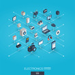 Electronics integrated 3d web icons. Digital network isometric interact concept. Connected graphic design dot and line system. Abstract background for technology, household gadgets. Vector Infograph