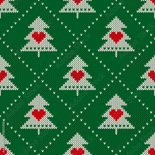 Materiał do szycia Winter Holiday Seamless Knit Pattern with Christmas Trees and Hearts. Scheme for Knitted Sweater Pattern Design or Cross Stitch Embroidery