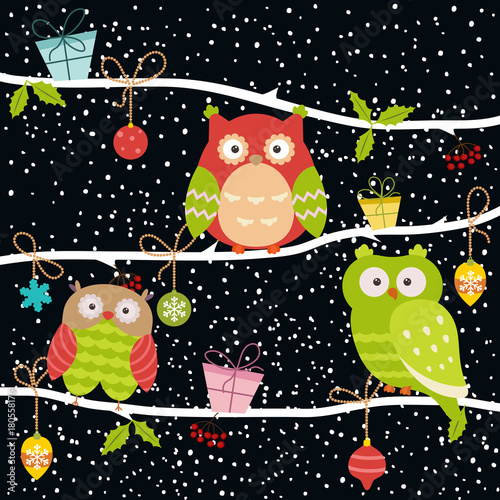 Aluminium Uilen cartoon Set of Christmas Owls.