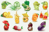 Colorful fruits and vegetables on a transparent background