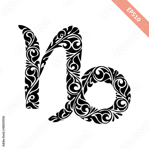 Hand Drawn Black Ornate Horoscope Symbol Capricorn Zodiac Icon