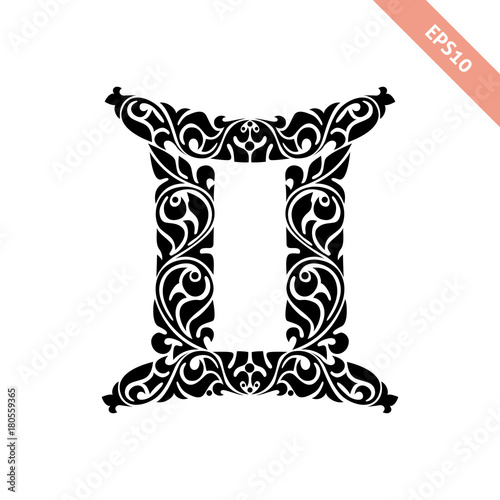 Hand Drawn Black Ornate Horoscope Symbol Gemini Zodiac Icon