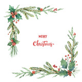 Watercolor vector Christmas decorative corner with fir branches and flower poinsettias. - 180560728