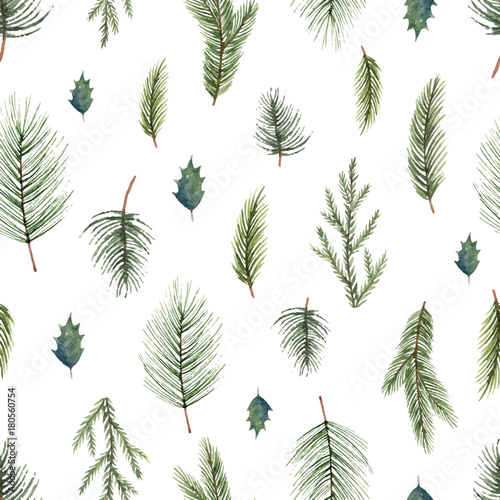 Cotton fabric Watercolor vector Christmas seamless pattern with fir branches.