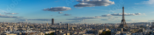 Foto op Canvas Eiffeltoren panorama of famous Eiffel Tower and Paris roofs, Paris France