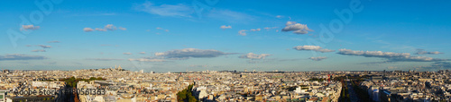 panorama of Paris with Mont Matre hill and Champs Elysees street, Paris France - 180561363