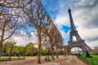 The Eiffel Tower from Champs de Mars in winter - France