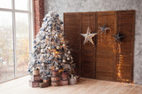 Christmas and New Year decorated interior room with presents and New year tree - 180568141
