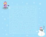 Zimowy labirynt dla dzieci / dziewczynka z sankami, bałwan i padający śnieg